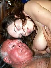Old pervert is enjoying big tits